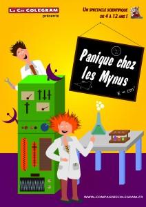 """Affiche du spectacle """"Panique chez les Mynus"""""""